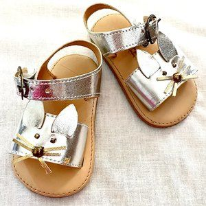 Silver Sandals with Cats - Size 10